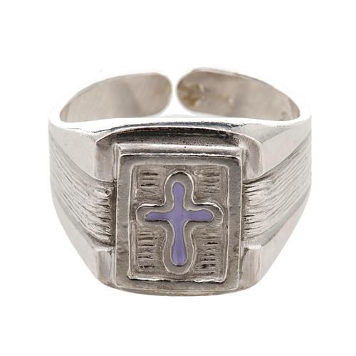 Anillo obispal de plata 925 con cruz de esmalte 2