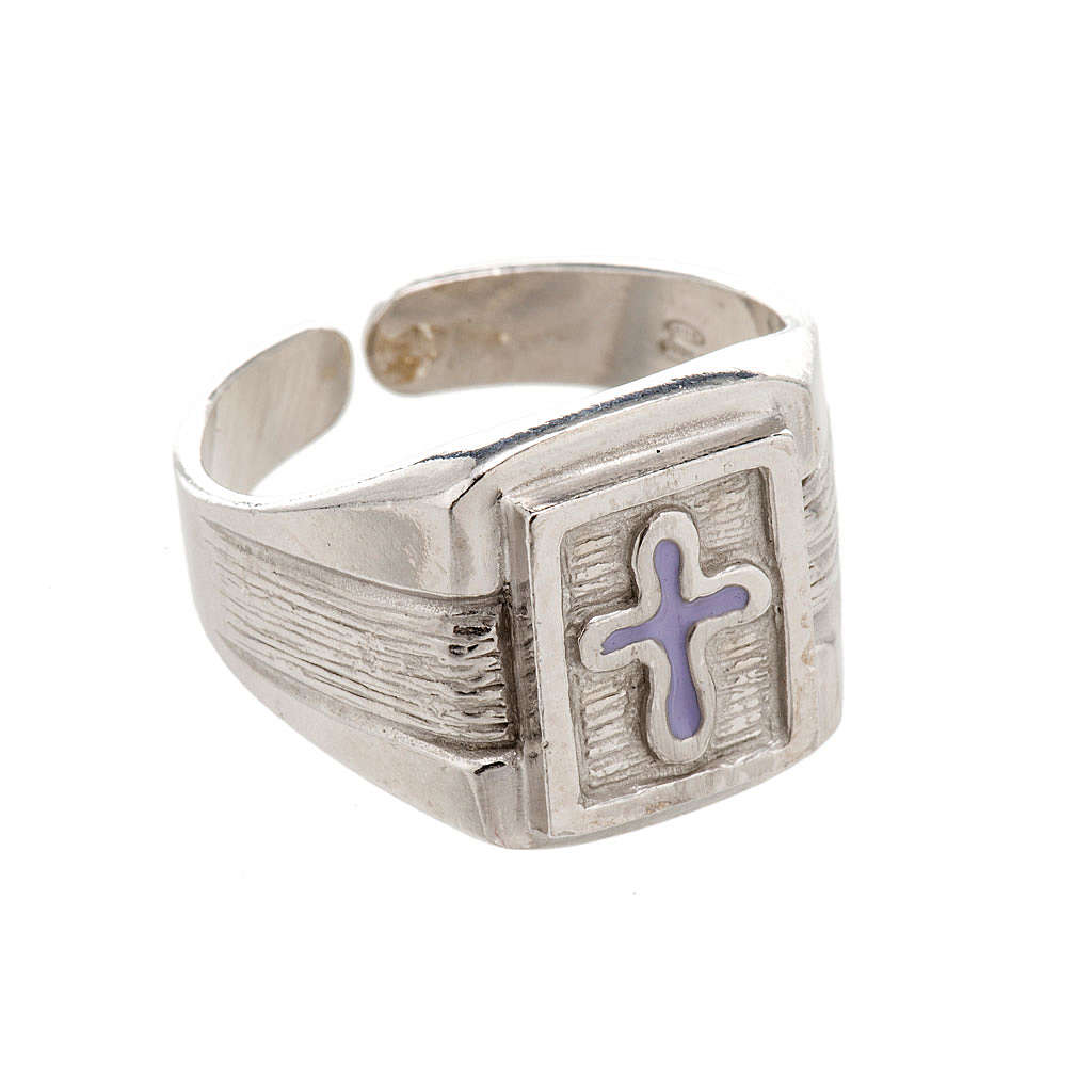 Bishop Ring in silver 925 with enamel cross 3