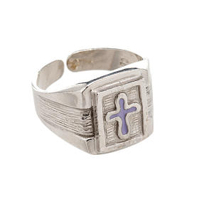 Bishop Ring in silver 925 with enamel cross s1