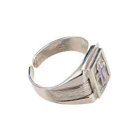 Bishop Ring in silver 925 with enamel cross s3