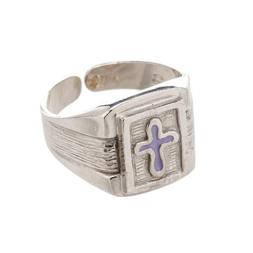Bishop Ring in silver 925 with enamel cross 1