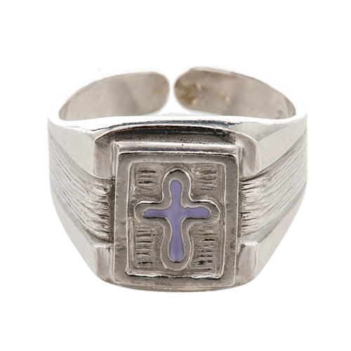 Bishop Ring in silver 925 with enamel cross 2