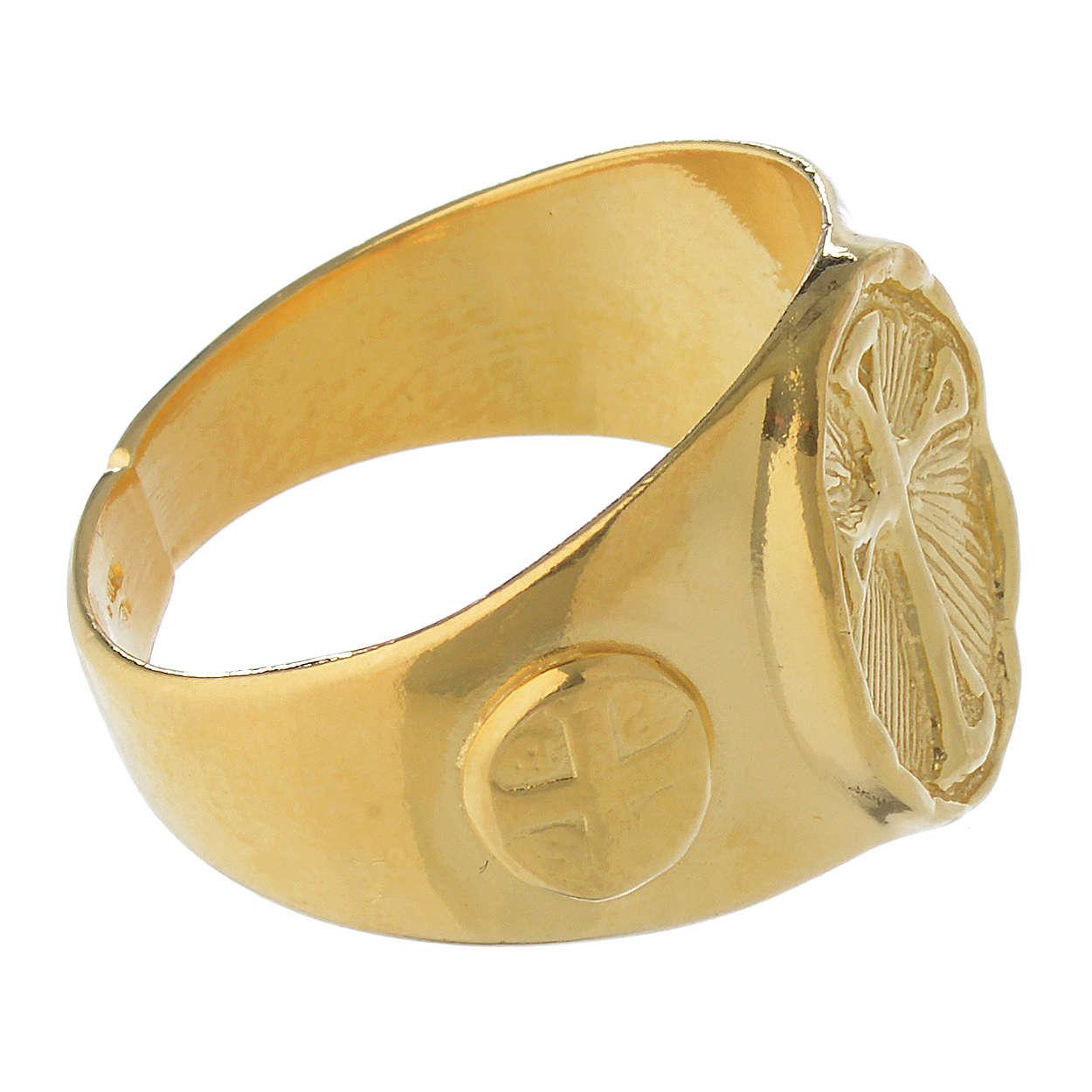 Anello episcopale argento 925 dorato 3