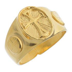 Anello episcopale argento 925 dorato s1