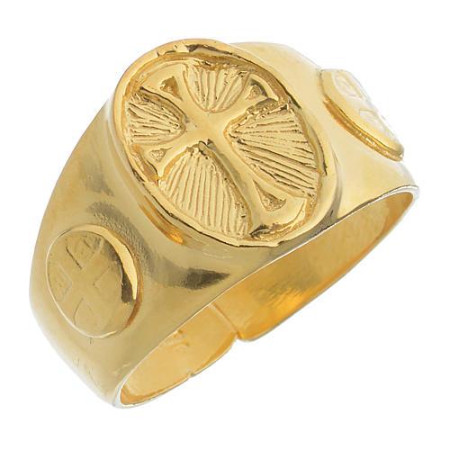 Pierścień pastoralny srebro 925 złocony 1