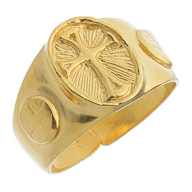 Anel episcopal prata 925 dourada s1