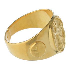 Anel episcopal prata 925 dourada s3