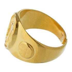 Anel episcopal prata 925 dourada s4