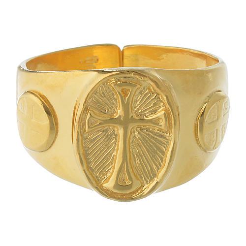 Anel episcopal prata 925 dourada 2