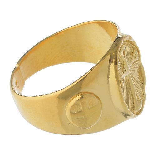 Anel episcopal prata 925 dourada 3