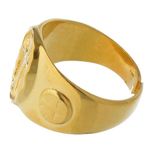 Anel episcopal prata 925 dourada 4