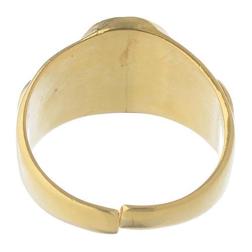 Anel episcopal prata 925 dourada 5