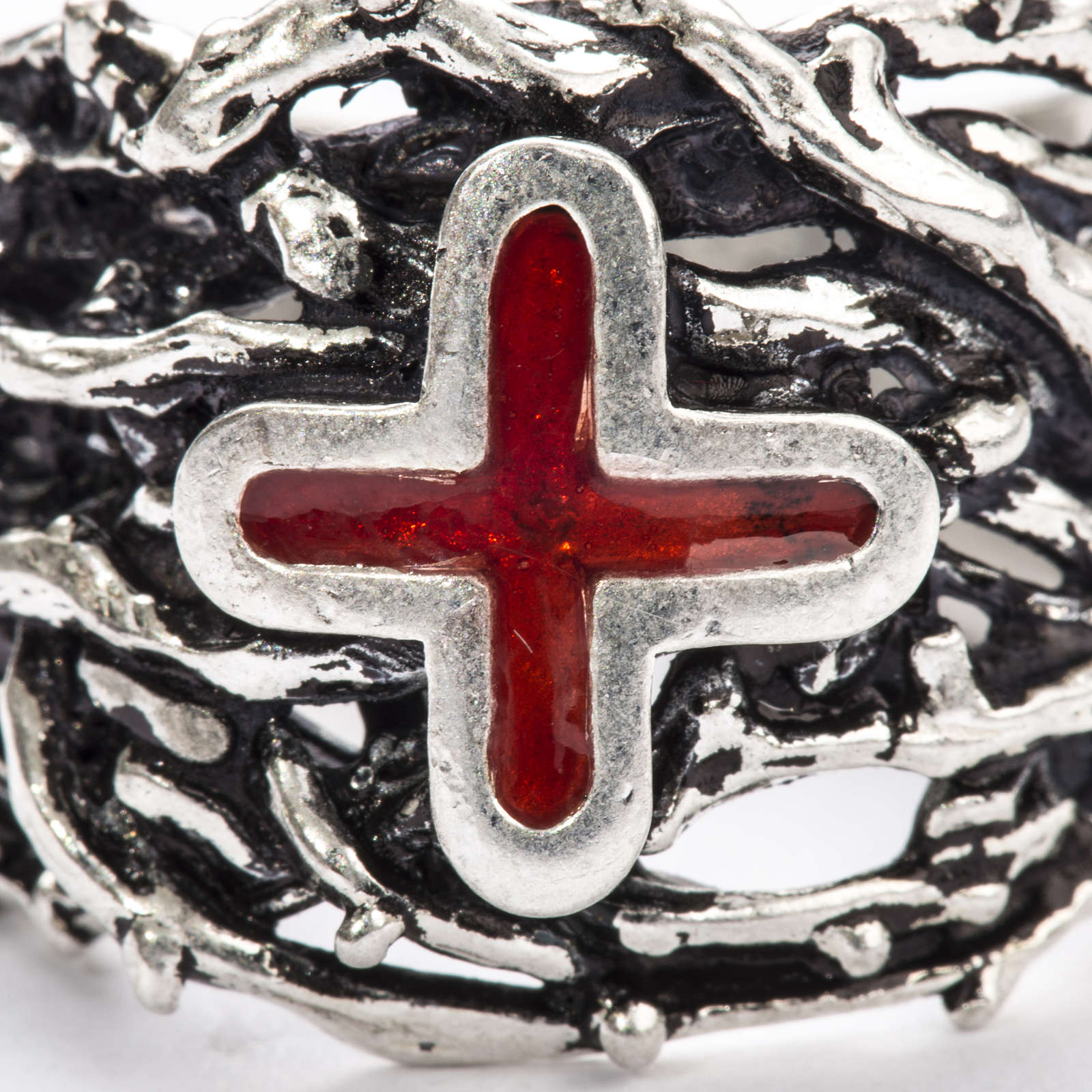 Ecclesiastical Ring made of silver 925 with enamel cross 3