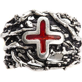 Ecclesiastical Ring made of silver 925 with enamel cross s5