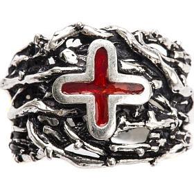 Anneau épiscopal argent 925 croix émail s5