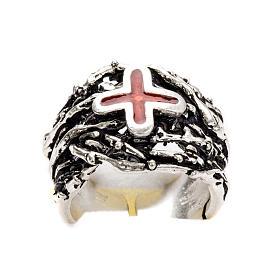 Anneau épiscopal argent 925 croix émail s6