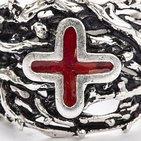 Anneau épiscopal argent 925 croix émail s8