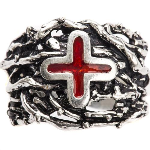Anneau épiscopal argent 925 croix émail 5