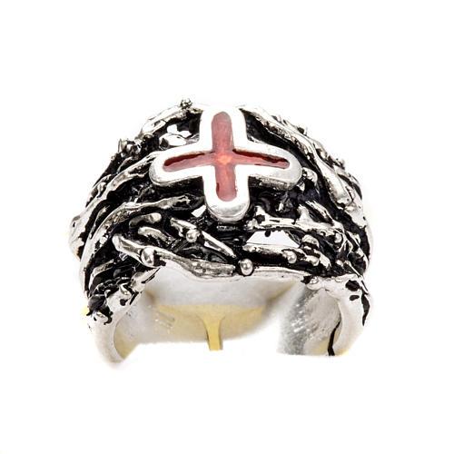 Anneau épiscopal argent 925 croix émail 6
