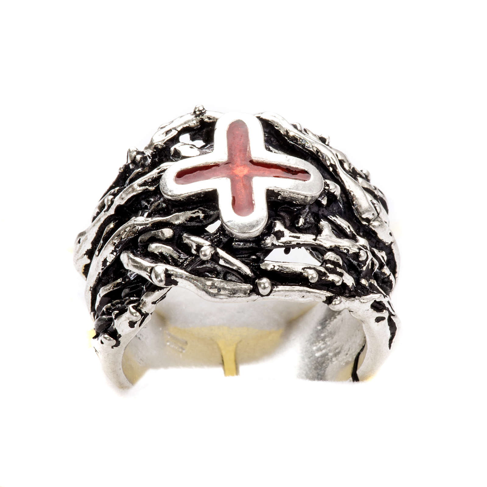 Ecclesiastical Ring made of silver 800 with enamel cross 3