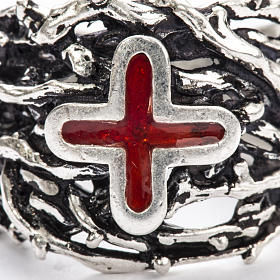 Ecclesiastical Ring made of silver 800 with enamel cross s8