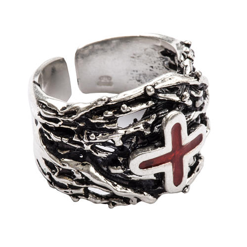 Ecclesiastical Ring made of silver 800 with enamel cross 1