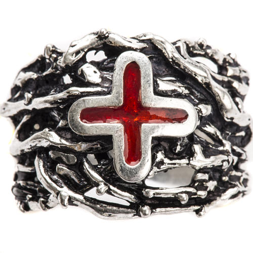 Ecclesiastical Ring made of silver 800 with enamel cross 5