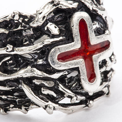 Ecclesiastical Ring made of silver 800 with enamel cross 7