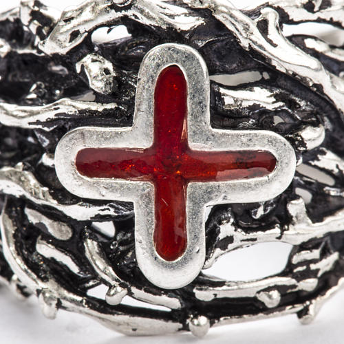 Ecclesiastical Ring made of silver 800 with enamel cross 8