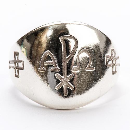 Anillo obispal de plata 925, alfa omega XP 3