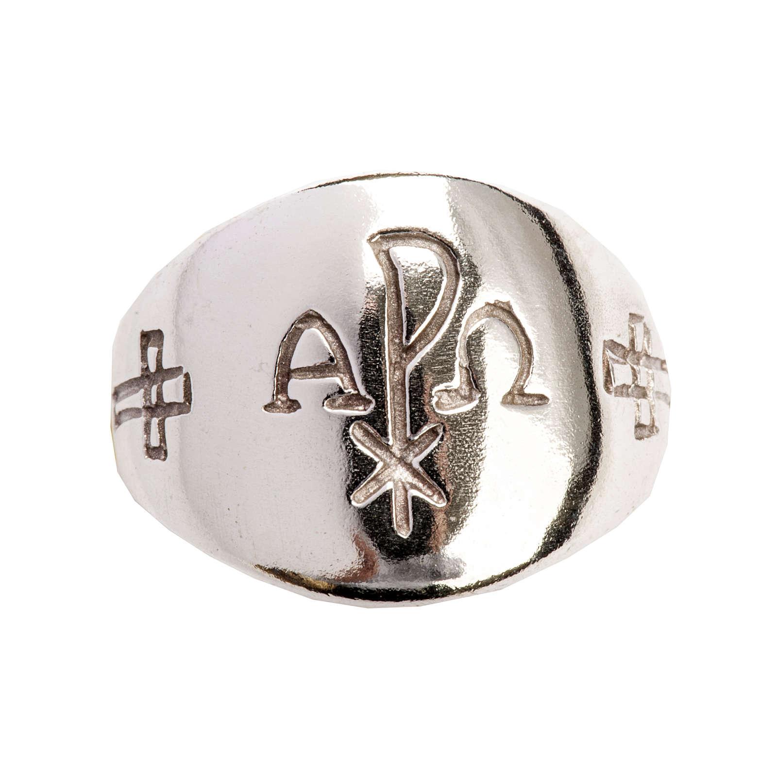 Anello vescovile alfa omega XP argento 925 3
