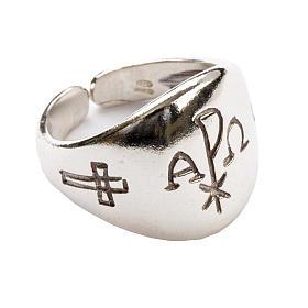 Anello vescovile alfa omega XP argento 925 s1
