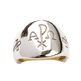 Anello vescovile alfa omega XP argento 925 s6