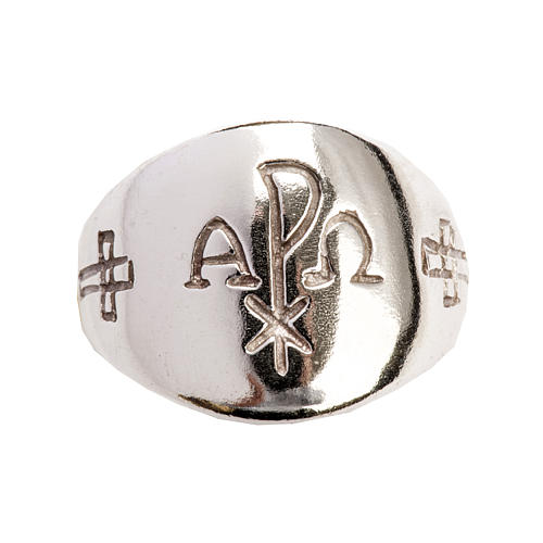 Anello vescovile alfa omega XP argento 925 5