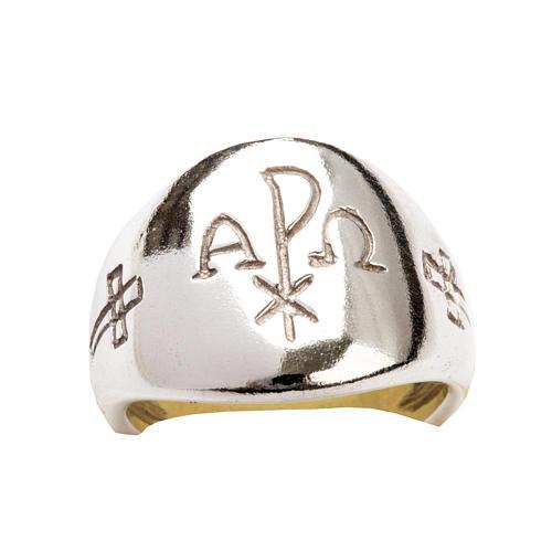 Anello vescovile alfa omega XP argento 925 6