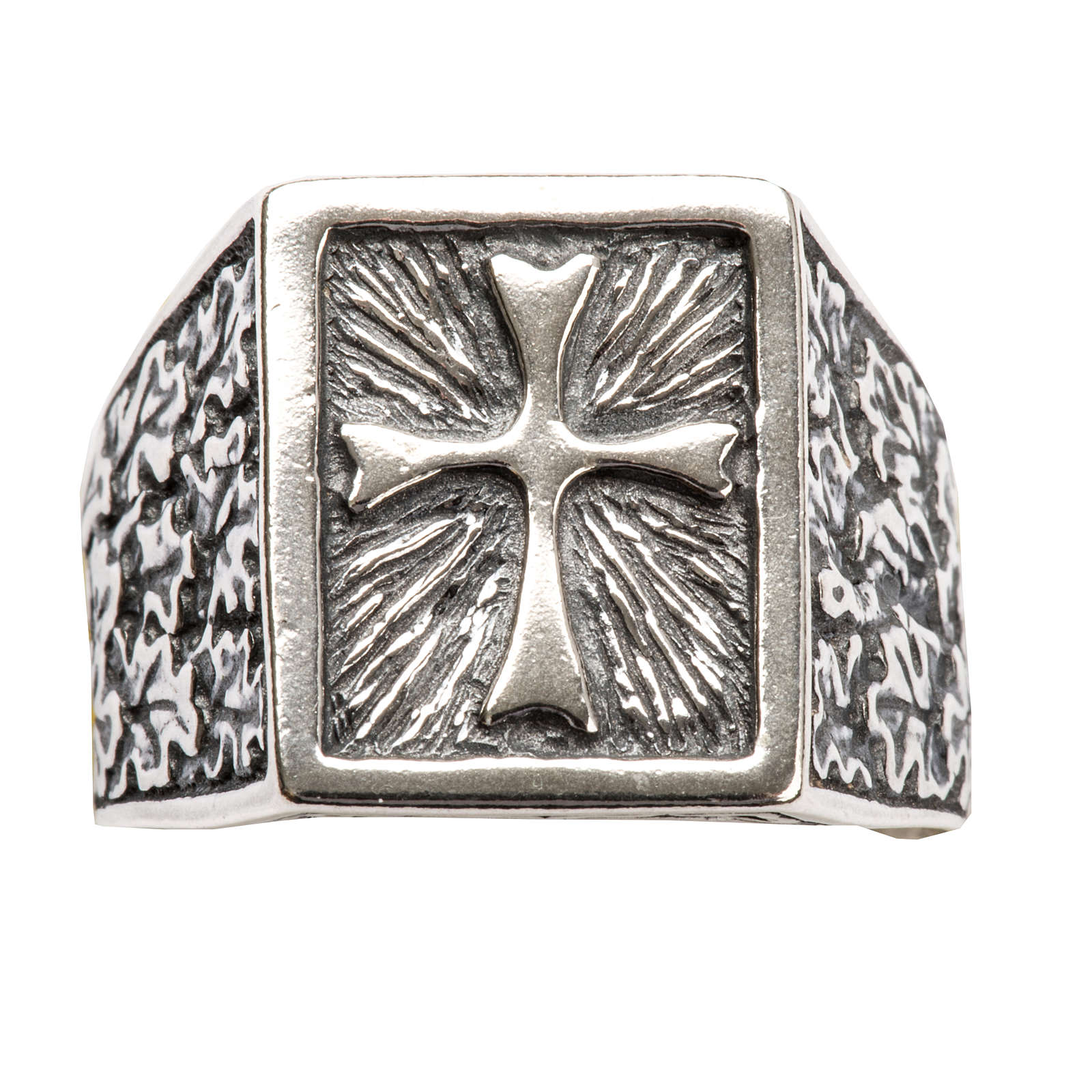 Anillo obispal  de plata 800, cuadrado con cruz 3