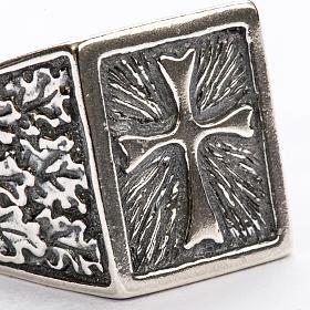 Anillo obispal  de plata 800, cuadrado con cruz s3