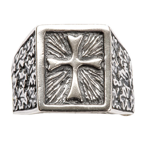Anillo obispal  de plata 800, cuadrado con cruz 4