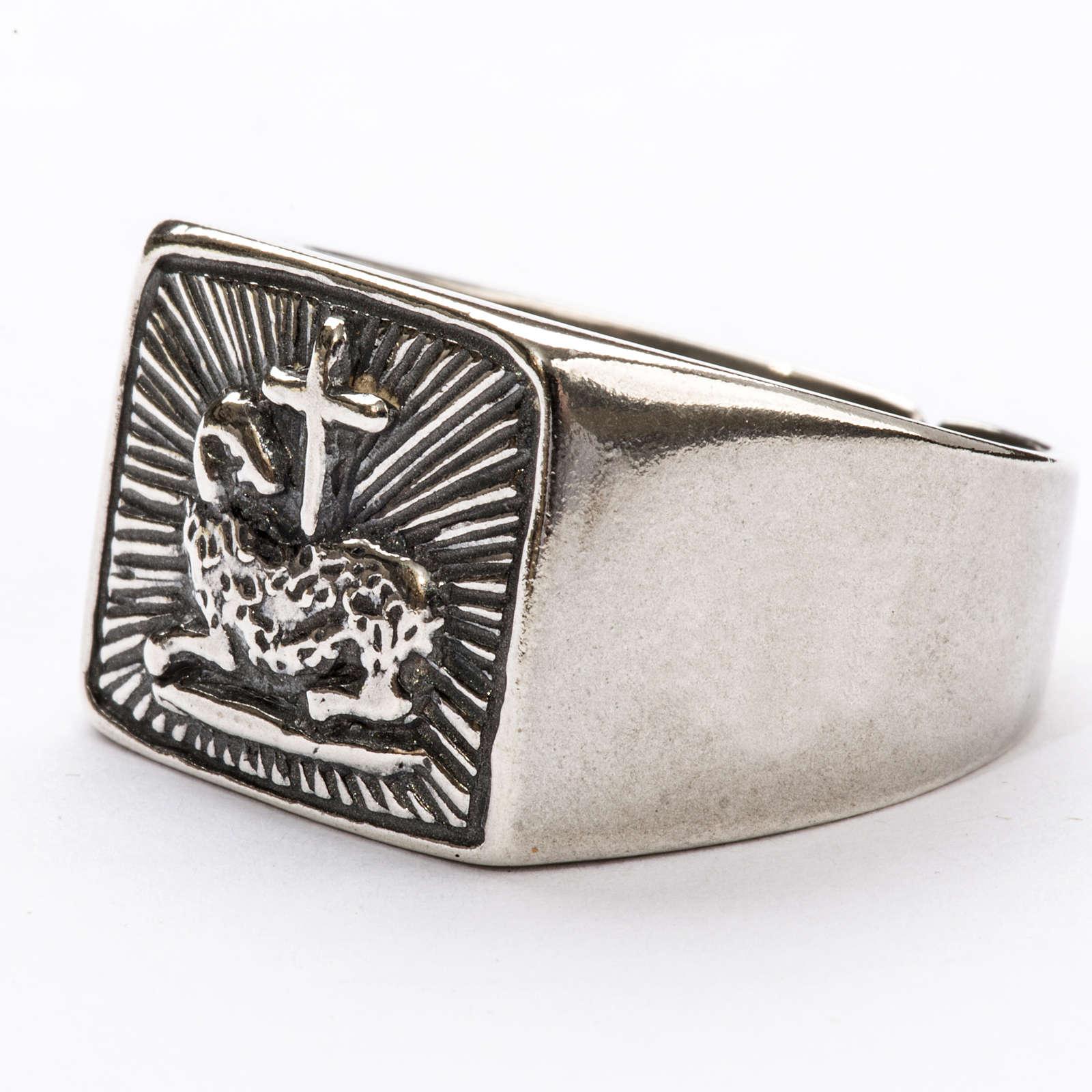 Anillo obispal  de plata 925, con cordero 3