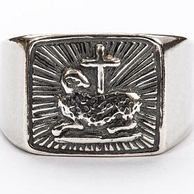 Anillo obispal  de plata 925, con cordero s3