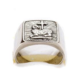 Anillo obispal  de plata 925, con cordero s6