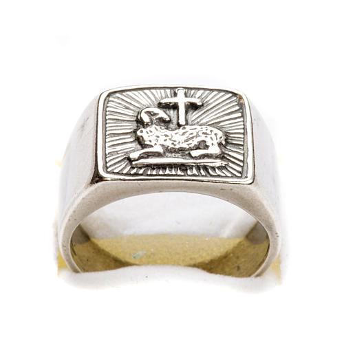 Anillo obispal  de plata 925, con cordero 6