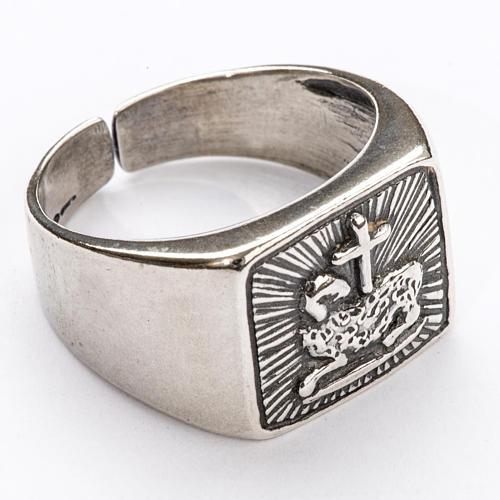 Anello vescovile agnello argento 800 1