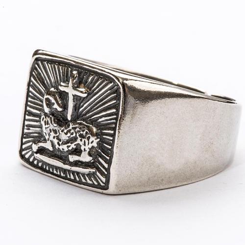 Anello vescovile agnello argento 800 2