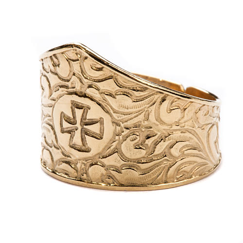 Bishop Ring in gold plated silver 925, cross decoration 2