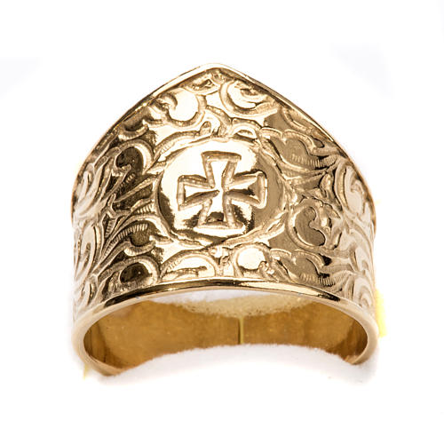 Bishop Ring in gold plated silver 925, cross decoration 4