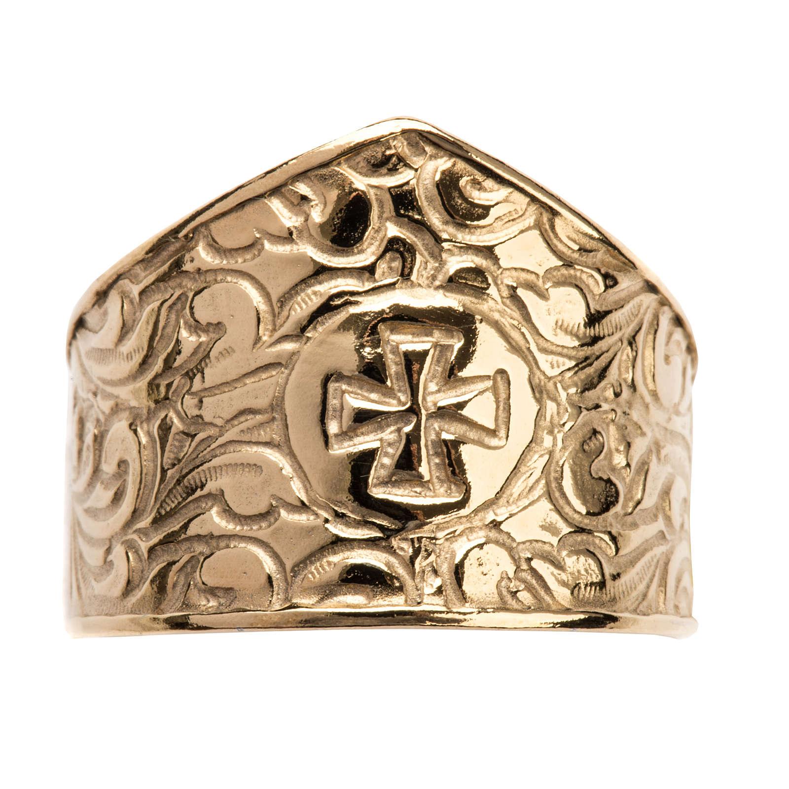 Anneau épiscopal argent 925 doré croix 3