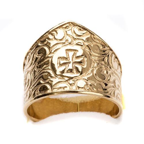 Anneau épiscopal argent 925 doré croix 4