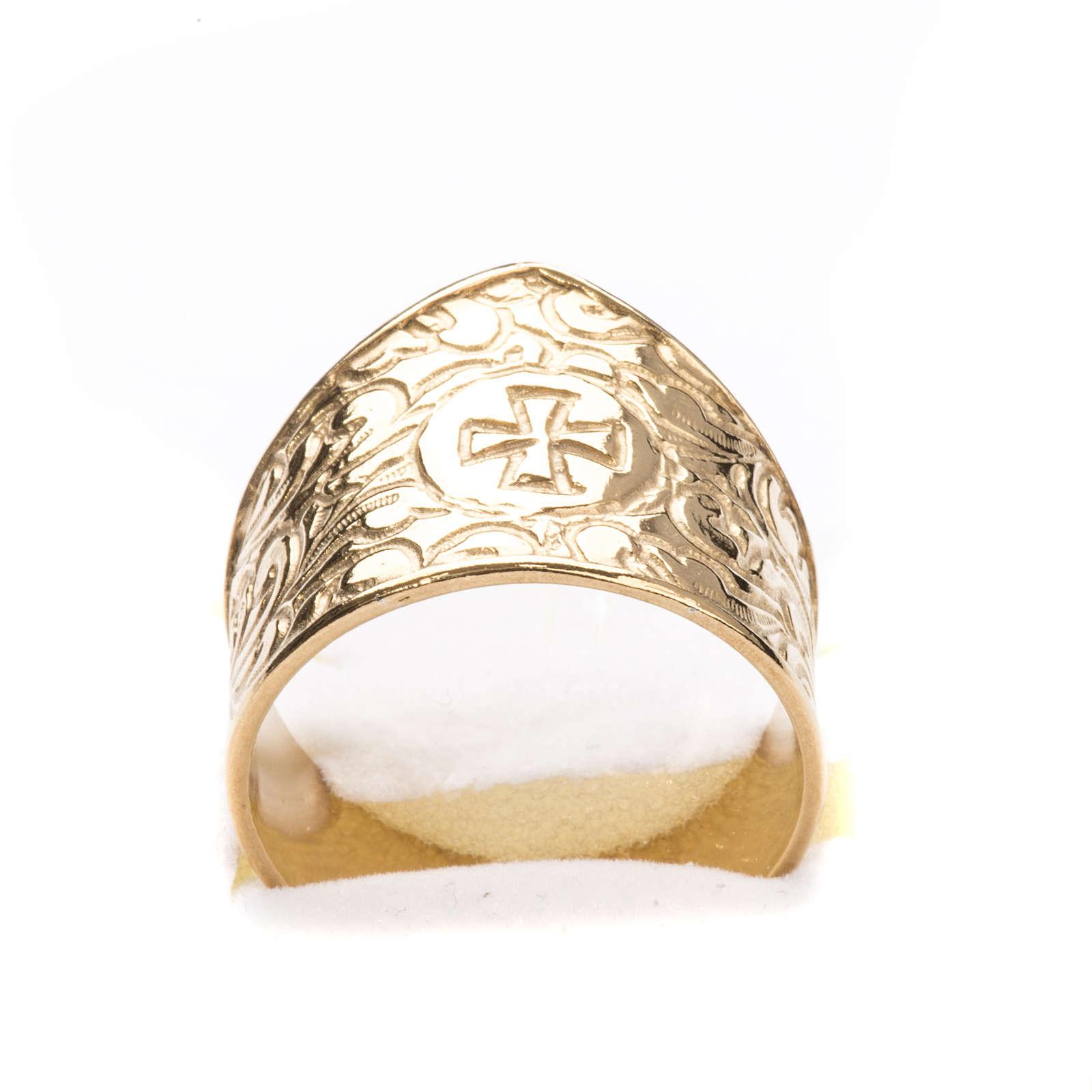 Anello per vescovi argento 925 dorato croce 3