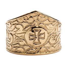 Anello per vescovi argento 925 dorato croce s3